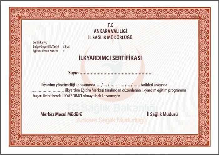 İlk yardım sertifikası