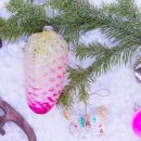 vintage christmas baubles and decorations with fir tree branch